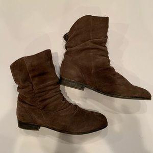 Suede, medium brown boots. Never worn.